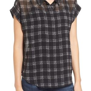 Vince Camuto Check Shirt - Size Small, Black/White
